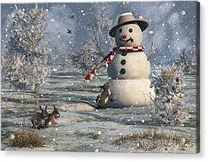 Mr Snowman Acrylic Print by Mary Almond