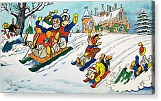 Mr Toad Tobogganing Acrylic Print by English School