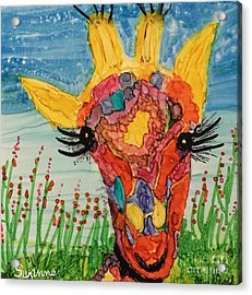 Acrylic Print featuring the painting Mrs Giraffe by Suzanne Canner
