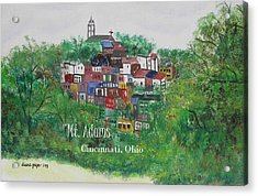 Mt Adams Cincinnati Ohio With Title Acrylic Print