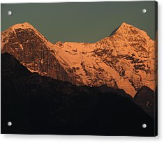Mt. Eiger And Mt. Moench At Sunset Acrylic Print