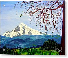Mt Hood In Winter Acrylic Print