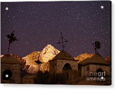 Mt Huayna Potosi And Milluni Cemetery At Night Acrylic Print by James Brunker