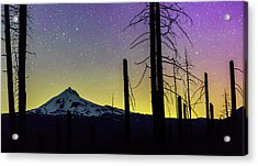 Acrylic Print featuring the photograph Mt. Jefferson Bathed In Auroral Light by Cat Connor