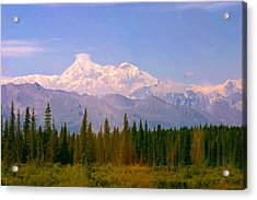 Acrylic Print featuring the photograph Mt Mckinley 125 Miles Away by Jack G  Brauer