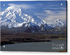Mt. Mckinley And Lenticular Clouds Acrylic Print by Sandra Bronstein