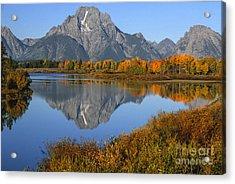 Mt. Moran Fall Reflection  Acrylic Print by Sandra Bronstein