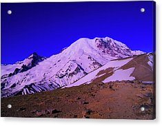 Mt Rainer And Bourroughs Mt In The Foreground  Acrylic Print by Jeff Swan