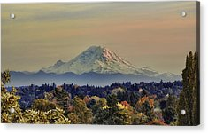 Mt Rainer Fall Color Rising Acrylic Print by James Heckt