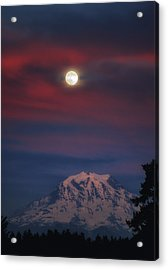 Mt Rainer Super Moon Acrylic Print