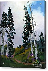 Acrylic Print featuring the painting Mt. Rainier 3 by Marta Styk