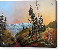 Acrylic Print featuring the painting Mt. Rainier 6 by Marta Styk