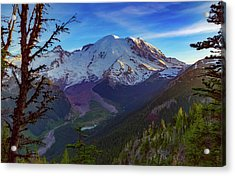 Mt Rainier At Emmons Glacier Acrylic Print by Ken Stanback