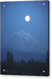 Mt Rainier Full Moon Acrylic Print
