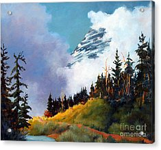Acrylic Print featuring the painting Mt. Rainier In Clouds by Marta Styk