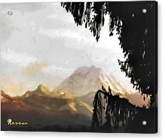 Acrylic Print featuring the photograph Mt. Rainier In Lace by Sadie Reneau