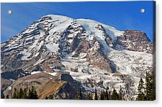 Acrylic Print featuring the photograph Mt. Rainier In The Fall by Larry Keahey
