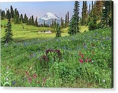 Mt Rainier Meadow Flowers Acrylic Print