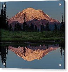 Mt Rainier Mirror Image Acrylic Print by Angie Vogel
