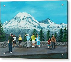 Mt. Rainier Tourists Acrylic Print