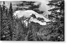 Acrylic Print featuring the photograph Mt Rainier View - Bw by Stephen Stookey