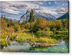 Acrylic Print featuring the photograph Mt. Rundle 2009 03 by Jim Dollar