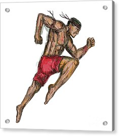 Muay Thai Boxing Fighter Tattoo Acrylic Print