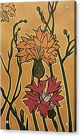 Mucha Ado About Flowers Acrylic Print by Carrie Jackson