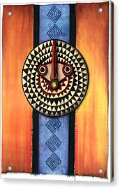 Acrylic Print featuring the mixed media Mud Cloth Mask by Anthony Burks Sr