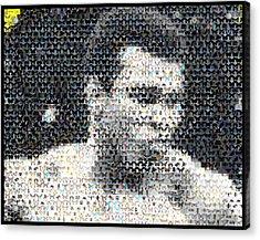 Muhammad Ali Butterfly Bee Mosaic Acrylic Print by Paul Van Scott