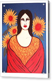 Mujer Con Flores Acrylic Print by Laura Lopez Cano