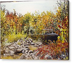 Mulberry River In Fall Another View Acrylic Print by Sharon  De Vore