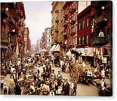Mulberry Street In New York City - C1900 Acrylic Print