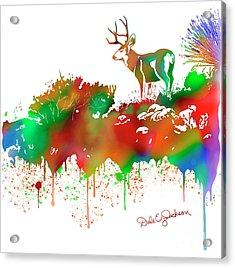 Mule Deer Buck Skyline Drip Pop Art II Acrylic Print