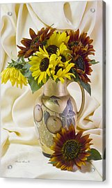 Multi Color Sunflowers Acrylic Print by Sandra Foster