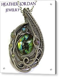 Multi-colored Labradorite Wire-wrapped Pendant In Antiqued Sterling Silver Labpss1 Acrylic Print
