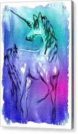 Multi Coloured Unicorn Acrylic Print by Carol Rowland