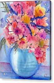 Multiflora In Turquoise Vase Acrylic Print