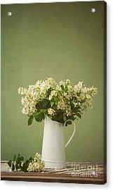 Multiflora Rose In A Rustic Vase Acrylic Print by Diane Diederich