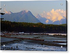 Multileval Photography In One Land Water Trees Mountain Clouds Skyview Olympic National Park America Acrylic Print