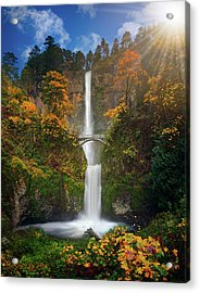 Multnomah Falls In Autumn Colors -panorama Acrylic Print by William Lee
