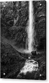 Multnomah Falls In Black And White Acrylic Print