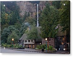 Multnomah Falls Lodge Morning Acrylic Print by Todd Kreuter
