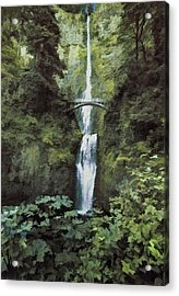 Acrylic Print featuring the photograph Multnomah Falls Painterly by Diane Schuster