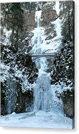 Multnomah In Ice Acrylic Print by Jeff Swan