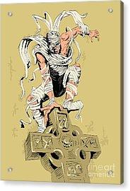 Mummy On Cross Acrylic Print by Aloysius Patrimonio