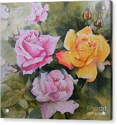 Mum's Roses Acrylic Print by Sandra Phryce-Jones