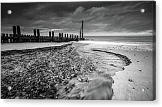 Acrylic Print featuring the photograph Mundesley Beach - Mono by James Billings