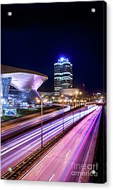 Acrylic Print featuring the pyrography Munich - Bmw City At Night by Hannes Cmarits