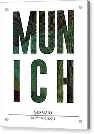 Munich, Germany - City Name Typography - Minimalist City Posters Acrylic Print